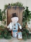 PRIMITIVE CHRISTMAS SNOWMAN IN A CAN ART DOLL WINTER COLLECTIBLE GRUNGY STUMP