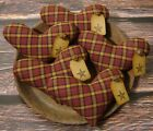 Primitive Heart Bowl Fillers ~ Burgundy Fabric ~ Christmas Valentines Day Ornies