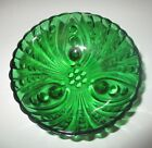 VTG Anchor Hocking Green Berry Bowl Beaded Circle Swirl Footed Depression Glass