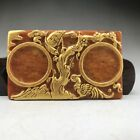 Chinese  natural jade carvings of plum flower pattern hand-painted gold paint.