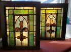 Antique Stained Glass Window Archetectural Salvage Set Pair Fleur De Lis 1860s
