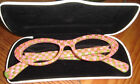 MACKENZIE CHILDS COURTLY CHECK TULIP CHECK CAT READING GLASSES 20 NEW