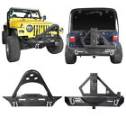 Front + Rear Bumper w Spotlight  Hitch Receiver for 97 06 Jeep Wrangler TJ