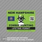 Zombie New Hampshire State Hunting Permit Sticker Decal Vinyl Nh