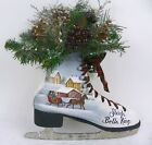 Painted Ice Skate Primitive Folk Art Horse and Sleigh  Winter Floral RJPE