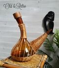 Boho Vintage Blown Art Glass Wicker Covered Carafe Decanter