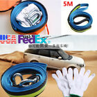 Tow Rope Cable Emergency Traction Strap W Steel Hook 7 8 Tons Night Reflection