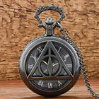 Vintage Black Harry Potter Quartz Pocket Watch Necklace Pendant Antique Gift Men