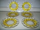 Vintage Set of 6 Indiana Glass Garland Fruit Flash Yellow Amber 8.5