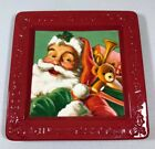 "Hallmark Collectible Cookies For Santa Plate Red Trim With Santa And Toys 8""X8"""