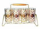 Roman Torch and Soldier High Ball Tumbler Glass Set of 8 w Caddy Holder Vintage