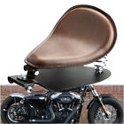 Brown Soft PU Leather Solo Seat + 3 Spring Bracket Kit For Indian Scout Bobber