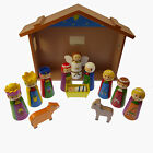 4 Childrens Christmas Nativity scene set ornament wooden shed Jesus 12 pieces