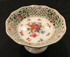 Vintage Pedestal Candy Dish Flowers with Golden Accent
