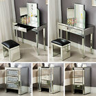 Mirrored Glass Vanity Table Bedside Cabinet Nightstand Stool Mirror W Drawer