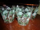 Set 4 Vintage Hazel Atlas Glassware Lowball Glasses Floral 1950s 60s Barware