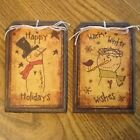 5 Handcrafted Wooden PRIM Snowmen Christmas Ornaments/PRIM Winter Hang Tags
