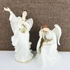 Grandeur Noel Porcelain Angel Set Collectors Edition Nativity White 2 Piece 2000
