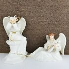 Grandeur Noel Porcelain Angel Set Collectors Edition 2000 Nativity White 2 Piece