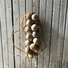 Primitive Unwashed Gourd Garland Cabin Early Look Dried Spinner Gourds Peg Rack