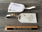 25 white Wedding favor leather escort luggage tags 200 each