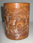 Bamboo brush pot carved with man boating and pines Qing late C19th/early 20th