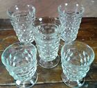 5 Beverage Glasses Anchor Hocking Wexford Diamond Point Crystal Clear Glass