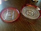 Indiana Ruby Red Diamond Point Vtg Depression Glass Salad Bowl Serving Platter