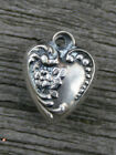 VINTAGE STERLING SMALL PUFFY HEART CHARM Flower  Bead with Swirls Border