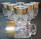 Culver Gold Encrusted Band Etched Lines 7 Highball Tumblers 12 Oz 5 1/4