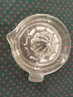 HAZEL ATLAS CRISS CROSS CLEAR GLASS LEMON JUICER REAMER w/TAB GREAT FOR KITCHEN!