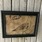 New Primitive Grungy German Bird Fraktur Drawing Print Heart Country