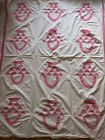 Vintage Antique Pink Basket Quilt Top Cotton 74 X 68