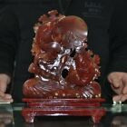 Noble Natural Red Agate Onyx carved Flower Barracuda Goldfish Fish Fishes Statue