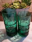 Vintage Anchor hocking tartan glasses emerald green - six