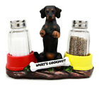 Whats Cooking Hot N Spicy Dachshund Dog Glass Salt Pepper Shakers Holder Set