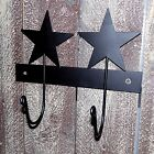 Primitive 2 Hook Black Wrought Iron STAR Hanger Rack Country Rustic NEW