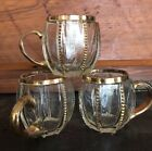 3 Vintage Pressed Glass Punch Cup with Gold Design