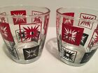 Vintage Atomic Hazel Atlas 1/2 Pint Sour Cream Glasses Red Black Aztec Sun