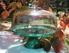 Cake Stand Anchor Hocking Wexford Green Footed Pedestal Plate and Clear Dome