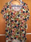 NWT Lularoe XL Classic Off White With Navy Orange Yellow And L Blue Flowers