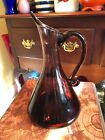 Vintage Rainbow Art Glass Controlled Bubbles Pitcher Amethyst MCM 676 10 inch