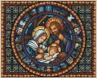 Christmas Nativity Scene Stained Glass Counted Cross Stitch COMPLETE KIT 4 451 3