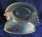 Vintage Chicken Hen on Nest with Lid Clear Glass Red Comb Indiana