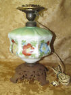 Gone With the Wind Lamp~Screw In Font Globe~Cast Iron Base~Brass Holders~Octagon