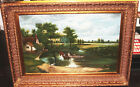 Vintage Oil Painting w/Gold Gilt Ornate Wood Picture Frame Large 45 x 34 G Woods