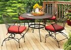 5 Piece Patio Dining Set Red Table 4 Chairs Metal Pool Porch Deck Outdoor Garden