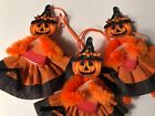 Chenille Halloween ornaments, vintage PUMPKIN WITCH, feather tree ornaments,