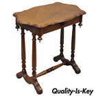 Antique Eastlake Victorian Turtle Top Lamp Side Table with One Drawer