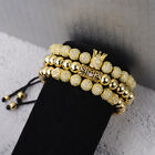 Luxury Mens Micro Pave CZ Ball Crown Braided Adjustable Bracelets Charm Jewelry